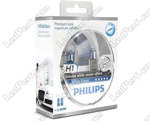 Pack mit 2 H1-Lampen Philips WhiteVision + 2 W5W WhiteVision