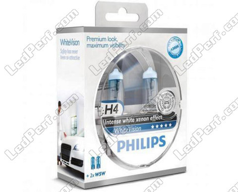 Pack mit 2 H4-Lampen Philips WhiteVision + 2 W5W WhiteVision