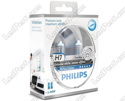 Pack mit 2 H7-Lampen Philips WhiteVision + 2 W5W WhiteVision